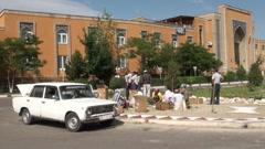Uzbekistan, planting, public garden, hotel, Lada Stock Footage