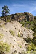 Rocky ridge outcroppings near banks lake washington state Stock Photos