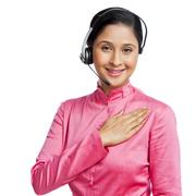 Portrait of a female customer service representative with his hand on heart - stock photo