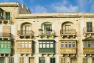 Stock Photo of Windows of a building, Valletta, Malta