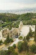 Ruins of an ancient amphitheater, Theatre of Dionysus, Acropolis, Athens, Greece Stock Photos