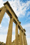 Low angle view of a colonnade, Acropolis, Athens, Greece - stock photo
