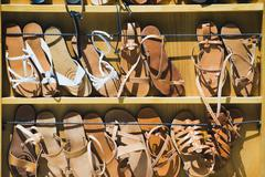 Footwear for sale at a market stall, Athens, Greece Stock Photos