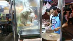Street Vendor Preparing Plates Of Chicken On Rice Stock Footage