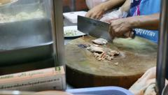 Street Vendor Preparing Plates Of Chicken On Rice-Close Up Stock Footage