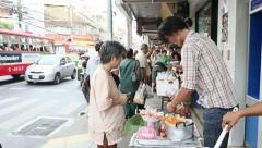 Thai Street Food Vendor Selling Home Made Donuts Stock Footage