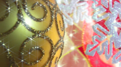 Christmas ball on a festive background - stock footage