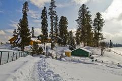 Snow covered tourist resort, Kashmir, Jammu And Kashmir, India - stock photo