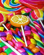 Multi-colored sweets and chewing gum Stock Photos