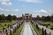 Stock Photo of Tourists on the walkways beside the pool, Taj Mahal, Agra, Uttar Pradesh, India