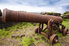 Stock Photo of Cannons on the beach, Alibag, Raigad District, Konkan, Maharashtra, India