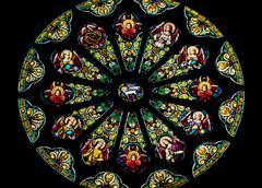 rose stained glass window saint peter paul catholic church san francisco cali - stock photo