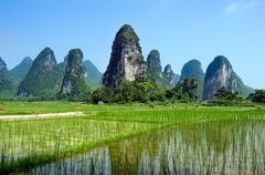 Typical landscape in yangshuo guilin, china Stock Photos