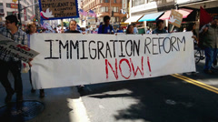 Immigration Reform Banner Stock Footage