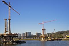 construction by the willamette river - stock photo