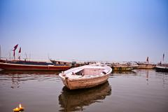 Boats at Rajendra Prasad Ghat, Ganges River, Varanasi, Uttar Pradesh, India Stock Photos
