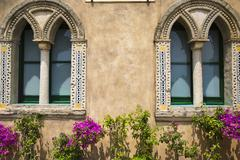 Potted plants outside a building, Ravello, Amalfi Coast, Salerno, Campania, - stock photo