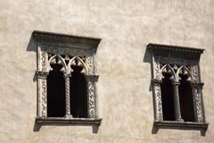 Windows of a building, Ravello, Amalfi Coast, Salerno, Campania, Italy - stock photo
