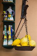 Lemons on a weighing scale at a market stall, Ravello, Amalfi Coast, Salerno, - stock photo