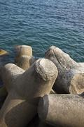 Concrete blocks at the coast, Ravello, Amalfi Coast, Salerno, Campania, Italy - stock photo