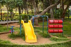 Play equipments in a park, Visakhapatnam, Andhra Pradesh, India - stock photo
