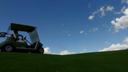 Stock Video Footage of Golf Cart Driver Silhouette