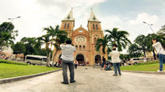 Time lapse of Saigon Notre-Dame Basilica Stock Footage