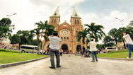 Stock Video Footage of Time lapse of Saigon Notre-Dame Basilica
