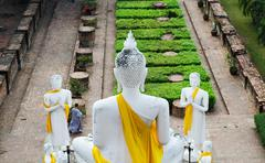 back of big buddha at old temple wat yai chai mongkhon, ayuthaya, thailand - stock photo