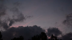 Amazing orange contamination chemtrail during sunset Stock Footage