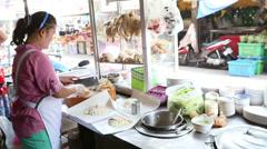 Street Vendor Preparing Takeaway Chicken On Rice Stock Footage