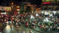 Hanoi - Night traffic Stock Footage