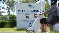 Le Cap D' Agde village naturiste entrance sign 1 Stock Footage