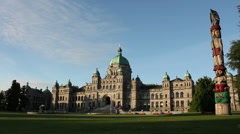 Victoria Parliament Building Morning Totem Stock Footage