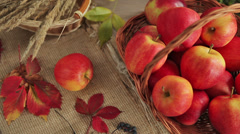 Still life with basket of apples Stock Footage