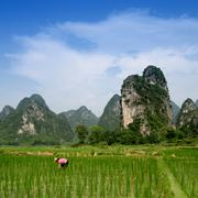 pastoral scenery in guilin - stock photo