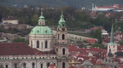 Church of Saint Nicholas in Lesser Town from Petrin Stock Footage