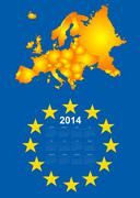 2014 calendar with europe map - stock illustration