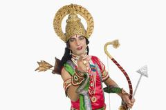 Stock Photo of Portrait of a stage artist dressed-up as Rama the Hindu mythological character