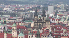 Prague Downtown From Petrin Stock Footage