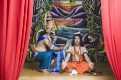 Stock Photo of Two stage artists dressed-up as Rama and Ravana the Hindu mythological