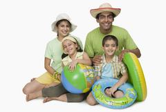 Portrait of a family enjoying on vacations - stock photo