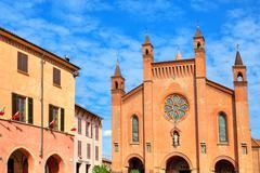 San lorenzo cathedral exterior view in alba, italy. Stock Photos