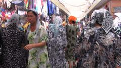 Uzbekistan clothing bazaar, walkthrough Stock Footage