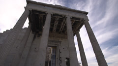 Acropolis old temple of athena tilt down, wide angle - stock footage