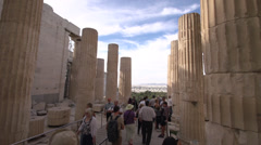 Acropolis tourists, handheld Stock Footage