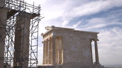 Acropolis old temple of Athena and scafolding - stock footage