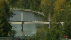 Calgary - Bow River with Bridge Stock Footage