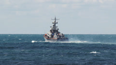 Missile boat in a stormy sea Stock Footage
