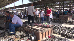 Second hand market for tools in Uzbekistan Stock Footage
